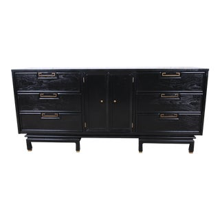 Merton Gershun for American of Martinsville Hollywood Regency Ebonized Chinoiserie Triple Dresser For Sale