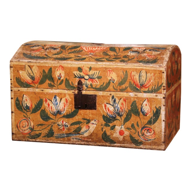 18th Century French Normand Painted Wedding Box With Bird and Floral Motifs For Sale