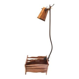 Koa-Wood Reading Lamp Magazine Rack For Sale