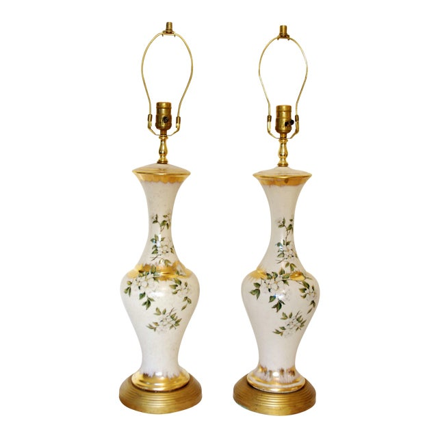 Vintage Dogwood Table Lamps - a Pair - Image 1 of 7