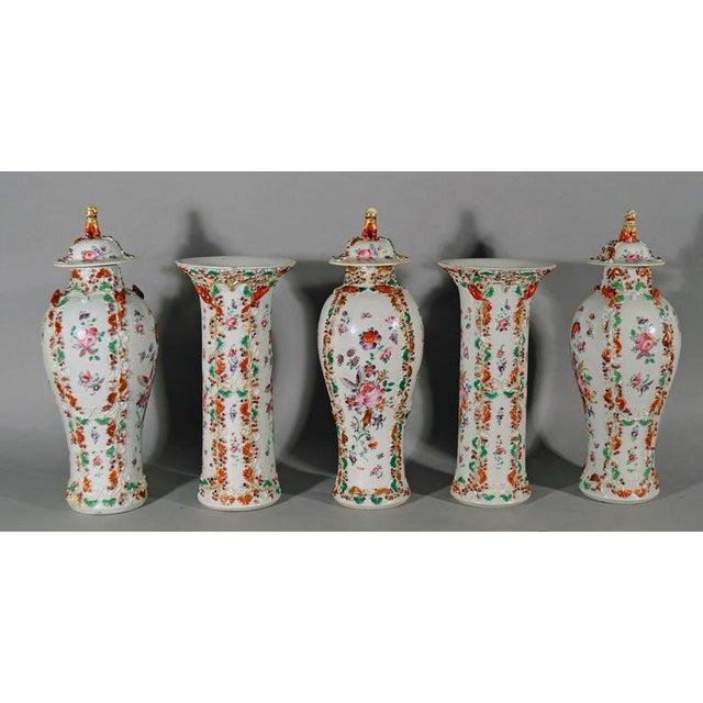 Chinese Export Famille Rose Porcelain Garniture Of Vases Set Of 5