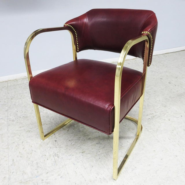 Metal Art Deco - Mid Century Lounge Chairs – Polished Brass – Leather For Sale - Image 7 of 9