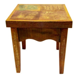 Save the Planet Antique Stool - Eco-Friendly Reclaimed Solid Wood For Sale