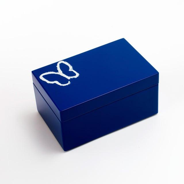 Hunt Slonem Hunt Slonem's Lacquered Blue Butterfly Box Set For Sale - Image 4 of 6