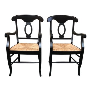 Contemporary Pottery Barn Napolean Black Lacquer Arm Chairs - a Pair