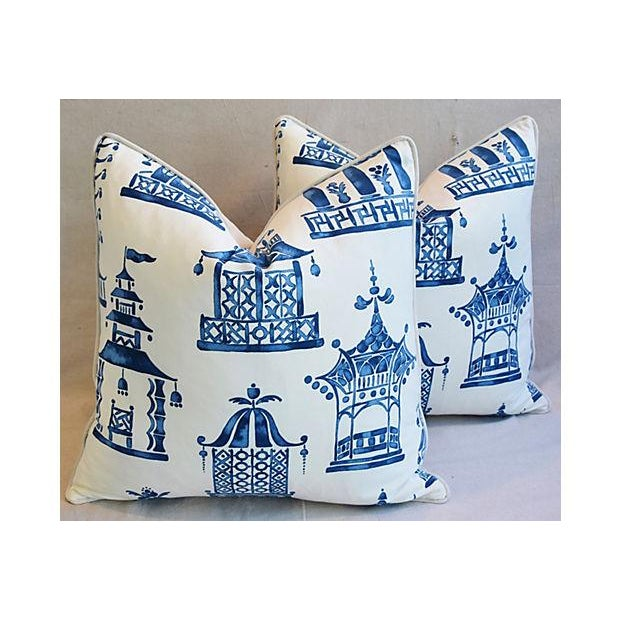 "Pair of large 24"" square custom-tailored chinoiserie blue and white pagoda pillows. Pillow fronts are a vintage/never used..."