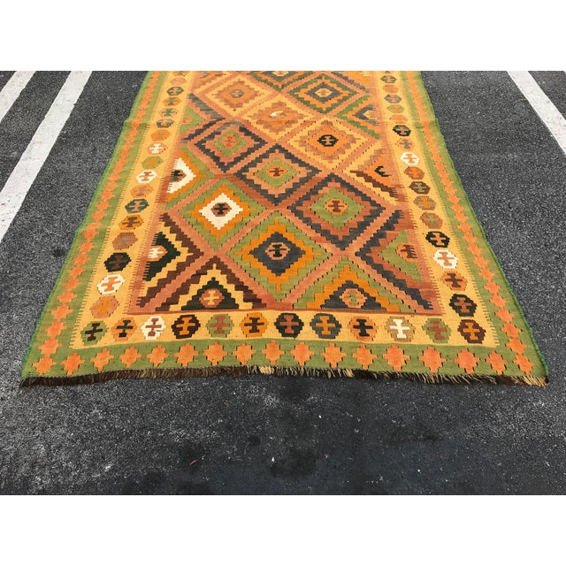 Mid 20th Century Qashqai Hand-Woven Kilim Rug, From Iran For Sale - Image 5 of 7