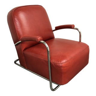 Mitchell Gold & Bob Williams Dean II Red Leather Arm Chair For Sale