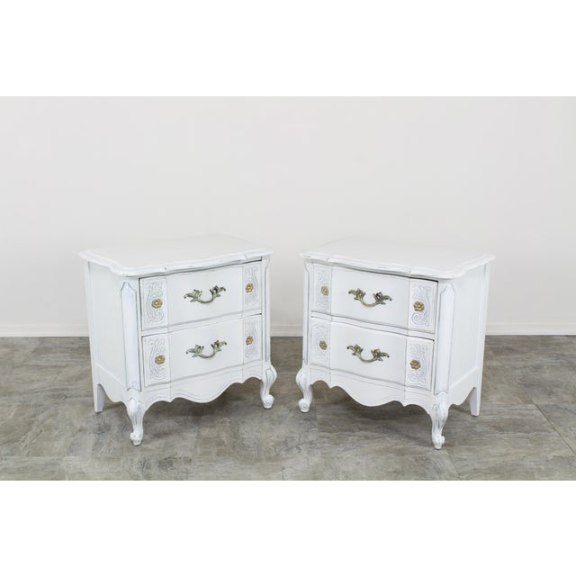 French Provincial Vintage White French Provincial Nightstands - a Pair For Sale - Image 3 of 13
