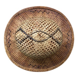 Antique Asian Wicker Rattan Pith Hat For Sale