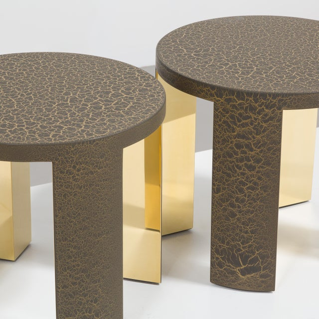 Brass The Circular Crackle Side Tables by Talisman Bespoke (Bronze and Gold) For Sale - Image 7 of 10