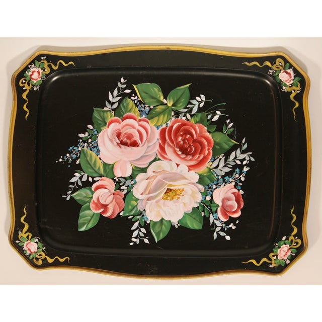 Metal Vintage French Black Tole Tray With Floral Design For Sale - Image 7 of 9