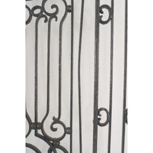 Metal American Victorian style (19/20th Cent) iron gates with filigree scroll design and lattice base For Sale - Image 7 of 11