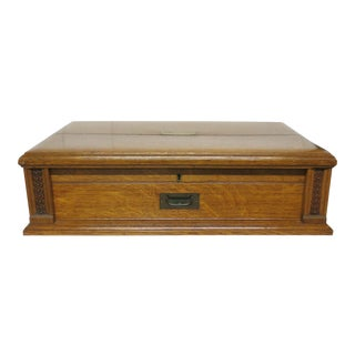 19th Century Oak and Brass Silverware Chest by Royal Letters England For Sale