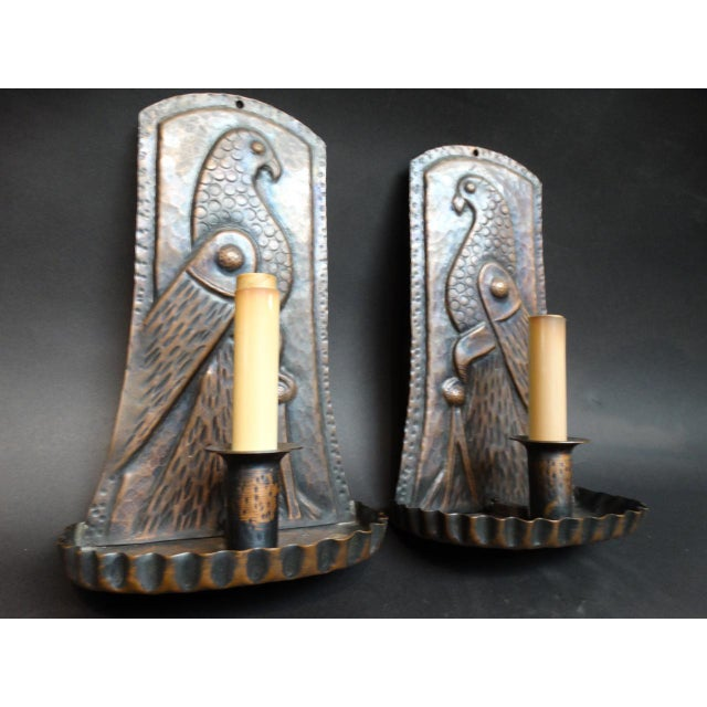 Arts & Crafts Hand Wrought Copper Sconce With Bird Motif - a Pair For Sale - Image 4 of 6