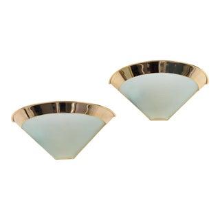 1980s Vintage Stilnovo Italian Gilt Brass & Glass Sconces - A Pair For Sale