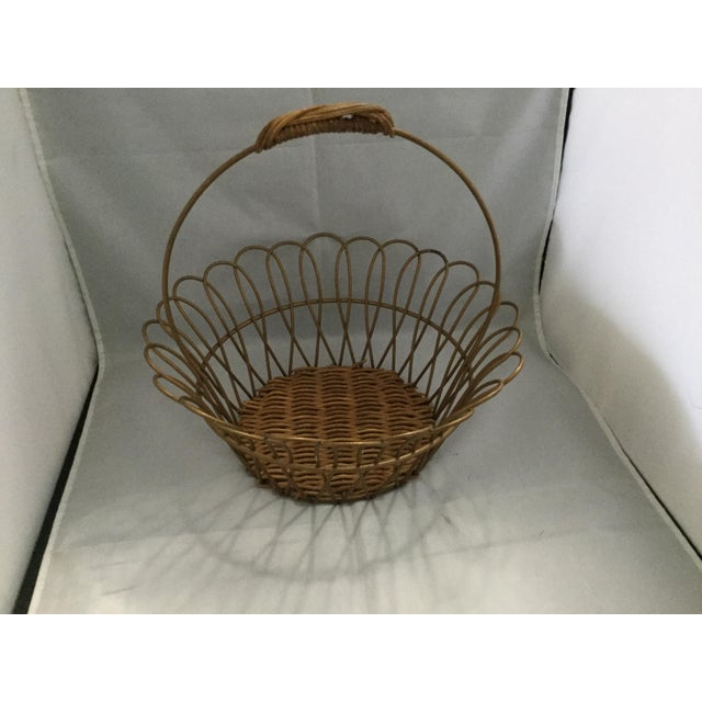 American Gold Vintage Metal Basket With Bamboo Bottom For Sale - Image 3 of 8