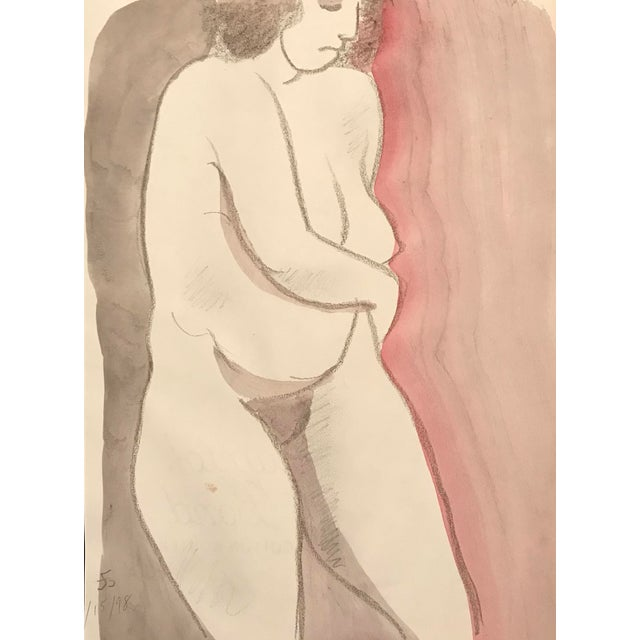 1990s Female Nude Watercolor Life Drawing by James Bone For Sale
