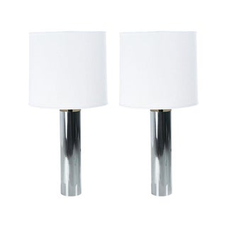 Tall George Kovacs Style Minimalist 1970s Chrome Cylinder Table Lamps W/ Shades For Sale