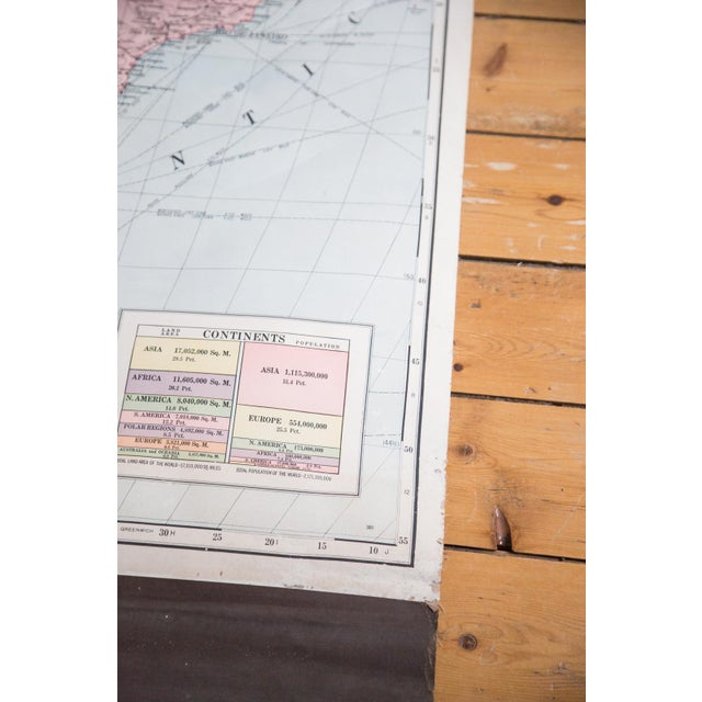 Industrial Vintage Cram's Pull Down Map of South America For Sale - Image 3 of 5