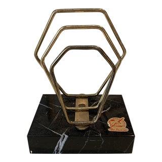 Vintage Mid-Century Modern Brass with Black Marble Base Desk Organizer For Sale