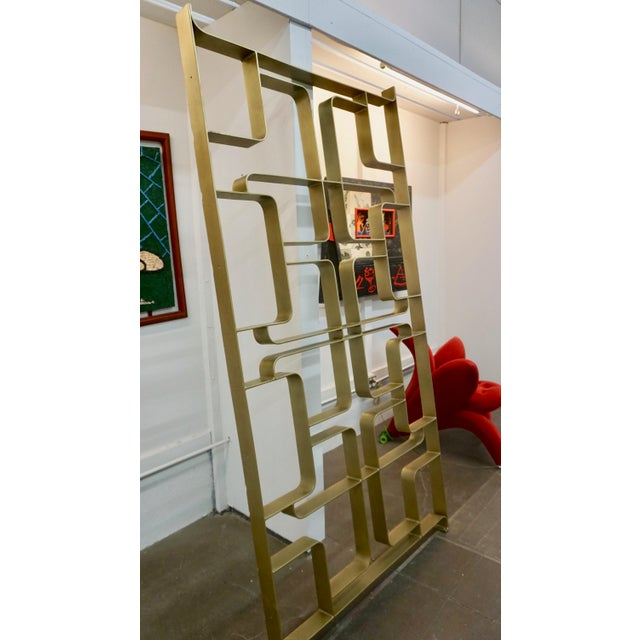 Mid-Century Modern 1960s Gold Tone Solid Steel Room Divider For Sale - Image 3 of 5