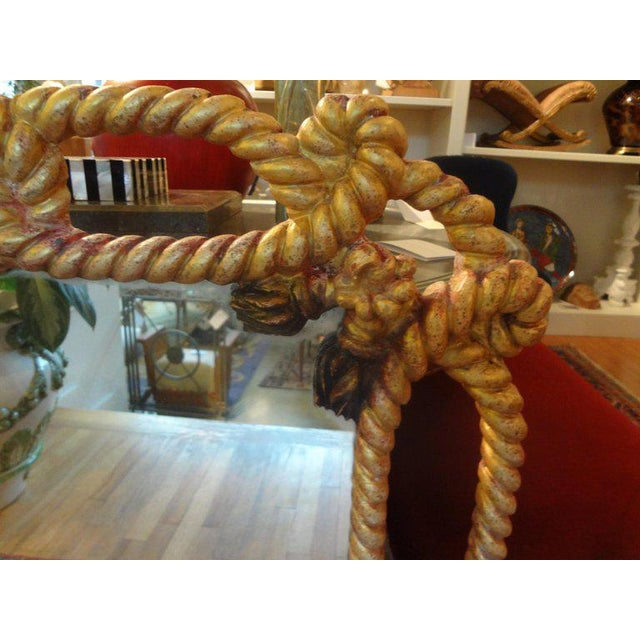 Hollywood Regency Italian Gilt Wood Mirror With Rope and Tassels For Sale - Image 3 of 9