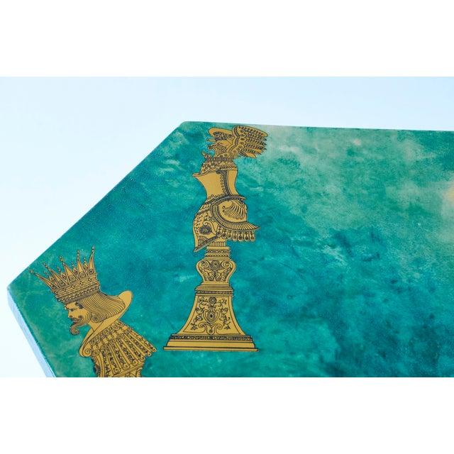Art Deco 1950's Aldo Tura Hexagonal Side Table For Sale - Image 3 of 11