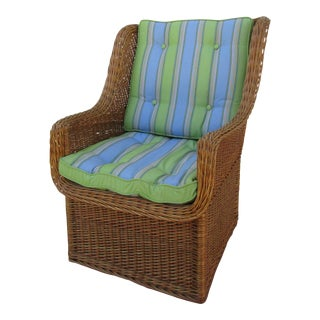 Rattan Armchair -Blue Green Cushions For Sale