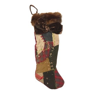 Antique Late 19th Century Victorian Quilt Christmas Stocking With Fur Collar For Sale