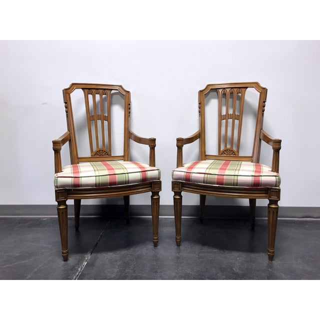 Henredon Capri Mid Century Italian Provincial Neoclassical Dining Captain's Arm Chairs - Pair For Sale - Image 12 of 13