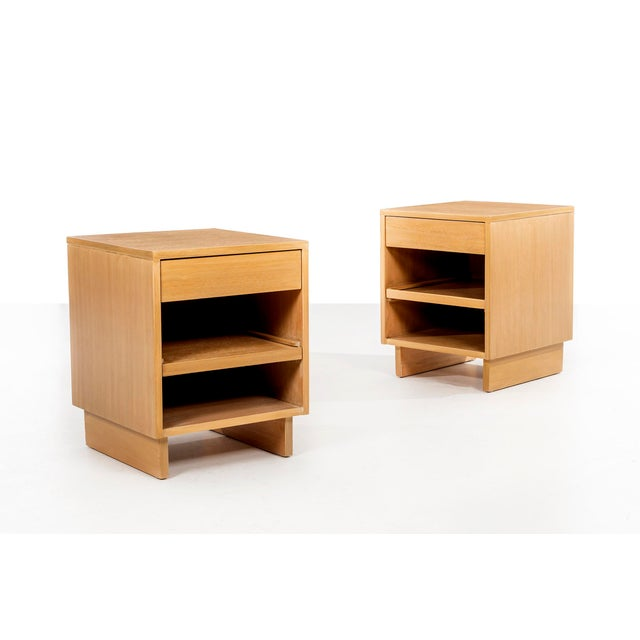 VKG- nightstands or end tables for Brown and Saltman. Mahogany wood with pull-out shelves and drawers. Label on drawer side.