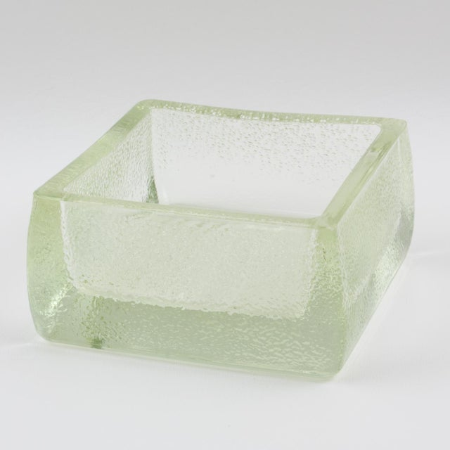 Industrial thick molded glass desktop accessory (desk tidy, ashtray or catchall) manufactured by Lumax, France....