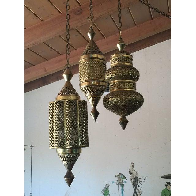 Mid-Century Triple Pendant Brass Chandelier - Image 2 of 5