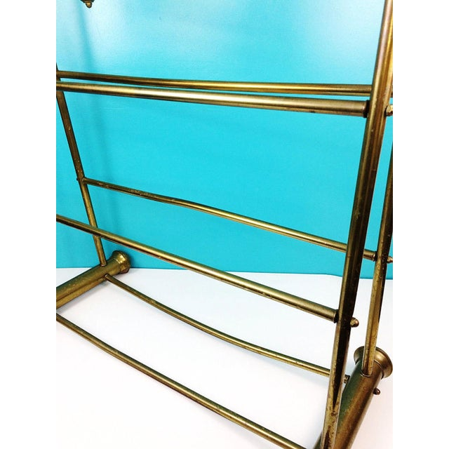 Hollywood Regency Brass Towel Quilt Floor Stand Rack - Image 3 of 6