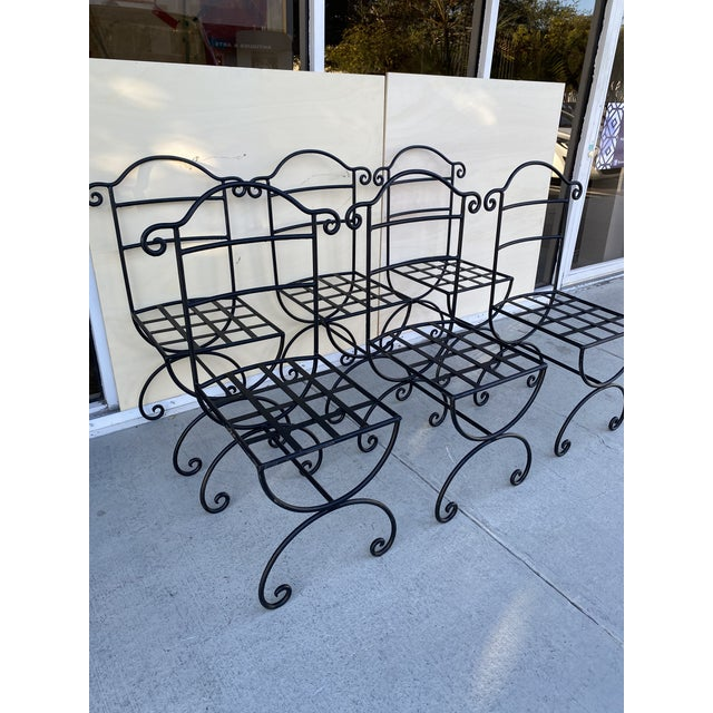 Asian Wrought Iron Asian Inspired Set of 6 Patio Chairs For Sale - Image 3 of 13