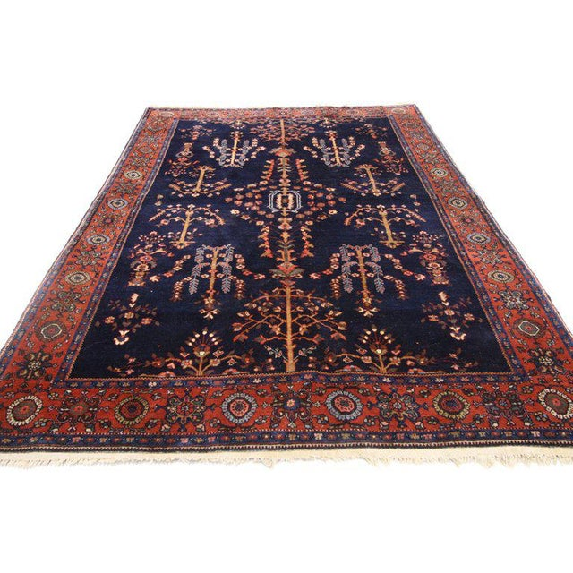 Textile Early 20th Century Antique Persian Sarouk Rug - 4′3″ × 6′5″ For Sale - Image 7 of 8