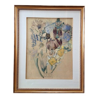 Late 20th Century Vintage Reproduction Floral Print For Sale