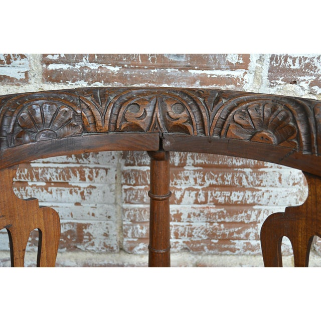 19th Century Carved Elm Corner Chair For Sale - Image 10 of 13
