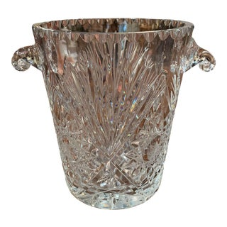 Vintage French Cut Crystal Ice Bucket With Foliage Decor and Handles For Sale