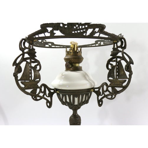 Brass & Milk Glass 1880s Sailing Ship Lamp - Image 3 of 6
