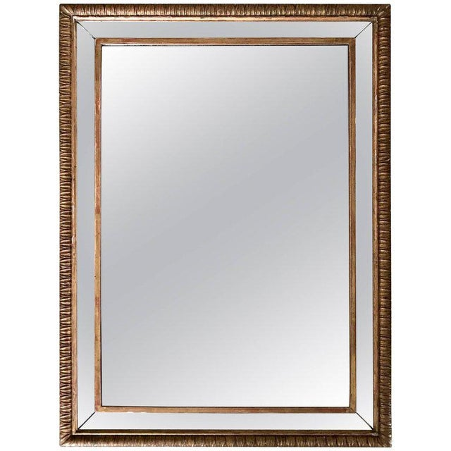 Louis XVI Style 23-Karat Water Gilt Wall Mirror with Convex Glass Border For Sale - Image 12 of 13