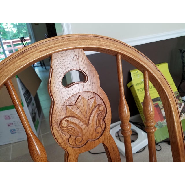 1990s 1990s Country Honey Oak Clawfoot Dining Set - 7 Pieces For Sale - Image 5 of 9