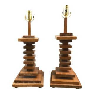 Mid-20th Century Stacked Wooden Lamps - A Pair For Sale