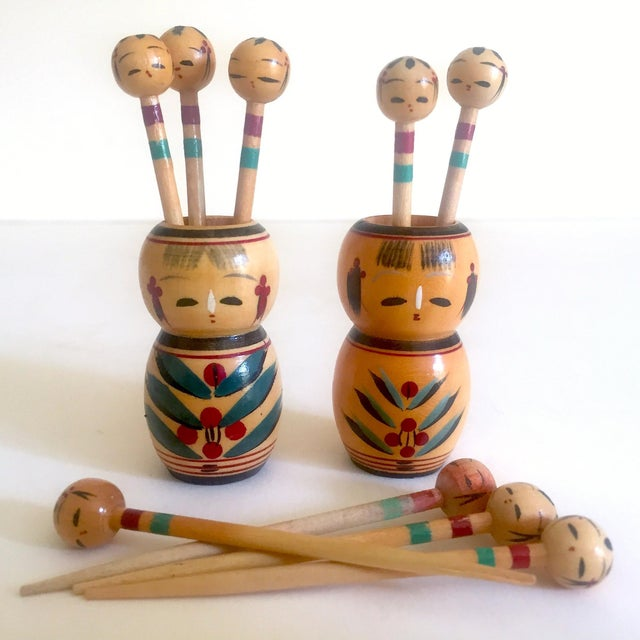 Vintage Mid Century Japan Rare Kokeshi Hand Painted Wood Hors d'Oeuvre Picks / Cocktail Skewers - 11pc Set For Sale - Image 13 of 13