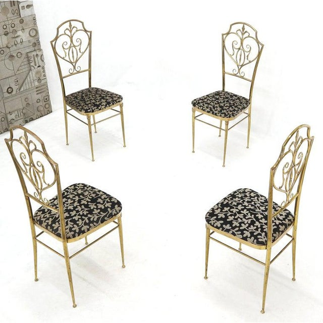 Metal Set of 4 Italian Mid-Century Modern Chiavari Brass Chairs For Sale - Image 7 of 12
