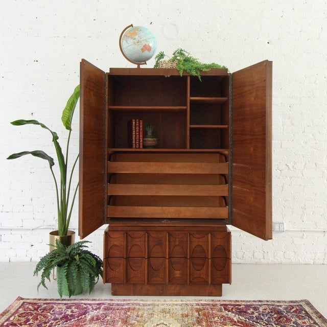 Auburn 1970's Brutalist Highboy Armoire For Sale - Image 8 of 9