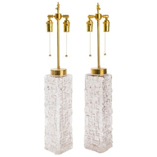 Carl Fagerlund Sculptural Glass Table Lamps - a Pair For Sale