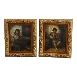J.L Ronay 19th Century Companion Pair Gilt Frame Oil Paintings of Street Musicians For Sale