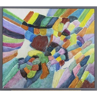 Phyllis Brodsky Colorful Geometric Abstract Signed Painting For Sale